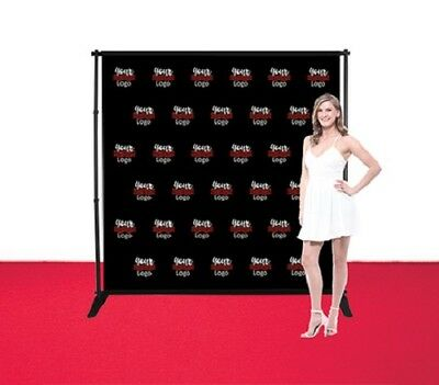 8'X8' Adjustable Step Repeat Banner Stand Telescopic DoubleSide Fabric Backdrop