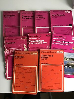 9 Old Ordnance Survey Maps Mainly Midlands +Lyn Peninsular, Snowdon and Cornwall