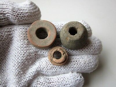 Lot of 3 ancient Roman or Byzantine CERAMIC SPINDLE WHORL.