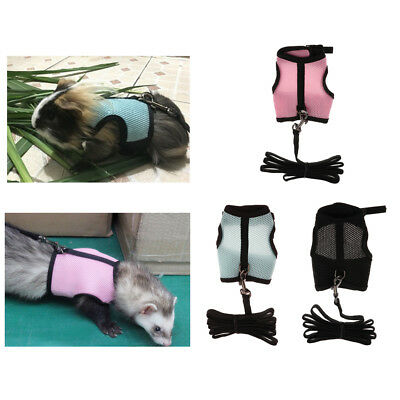 Adjustable and Breathable Mesh Pet Ferrets Rabbits Bunny Harness Leash Lead Set