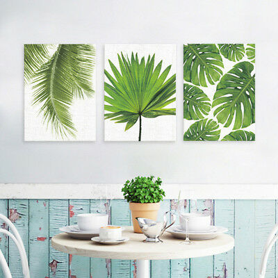 3x Tropical Plant Leaf Oil Painting Unframed Canvas Print Picture Wall Decor