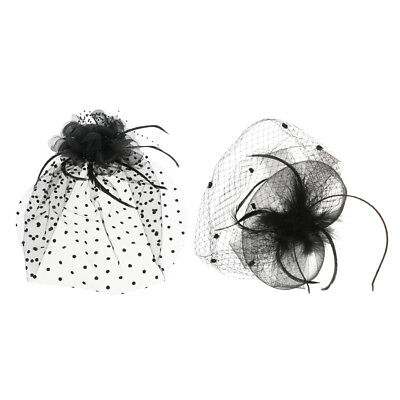 Lady Women Fascinator Feather Wedding Party Pillbox Hat Headband Clip Veil