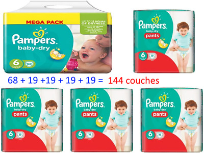 PAMPERS 144 couches Taille 6 Pampers PANTS et Pampers baby dry à 47.77 €