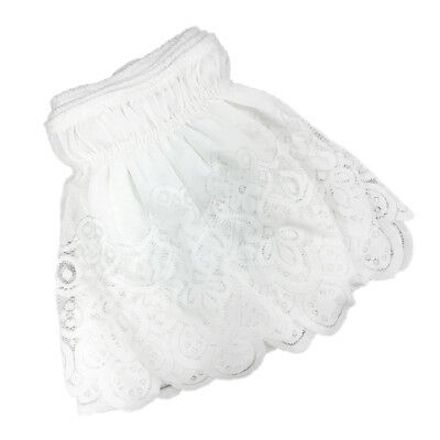 Vintage Crochet Lace Ruffle Elastic Band Bed Skirt White_150x200cm Queen