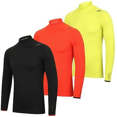 fb335e527 adidas Mens TechFit climaheat Long Sleeve Mock Compression Top Running Shirt