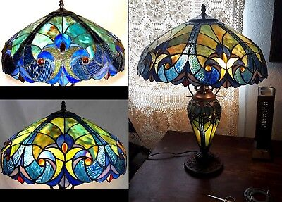 Kitchen Table Lamp Tiffany Style Victorian Handcraft Lighted