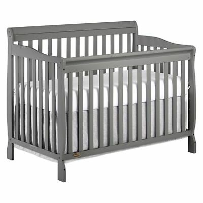 Convertible Crib Set 5 In 1 Grey Nursery Baby Toddler Full Size Bed Daybed