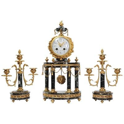 Antique French Ormolu and Green Marble Portico Mantel Clock Set - L@@k!