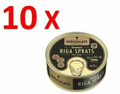 10X Diplomats Smoked Riga Sprats in Oil Can 160g, Unda