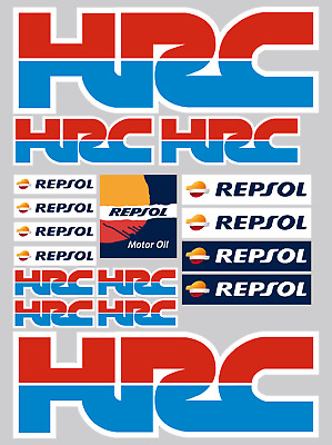 HONDA HRC REPSOL 17 Red/Blue Stickers - High Quality Printed & Cut Stickers