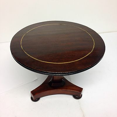 Antique Mahogany Apprentice Miniature Tilt Top Table With Brass Band