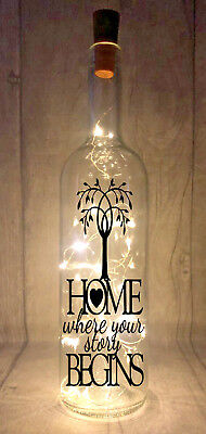 Home where your story begins Light Up Wine Bottle Present Gift idea *18 colours*