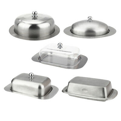 Stainless Steel Butter Dish with Lid Food Serving Tray Buffet Fruit Storage