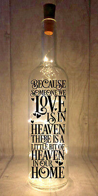 Because someone we love is in heaven Light Up Wine Bottle Present Gift idea