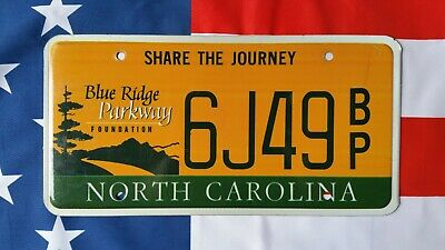 North Carolina 6J49BP Blue ridge parkway USA US license plate