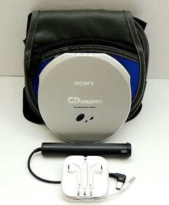 Sony D-EJ915 CD Walkman w/ EBP-30 AA Battery Adapter, Case, Earbuds | Tested