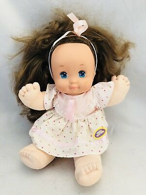 Vtg Mattel 1989 Magic Nursery Vinyl Cloth Doll Brunette Pink Dress Brown Hair Dolls & Bears Dolls