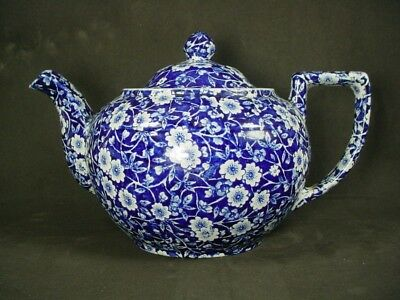 "STAFFORDSHIRE china CALICO BLUE Crownford Stamp Teapot & Lid - 4-1/8"" Crazed"
