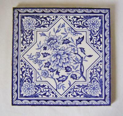 Victorian Blue & White Floral Tile 6 inches Square for Wall / Fireplace/ Trivet