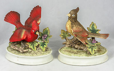 Male & Female Cardinal Bird figurine Hand painted Set 2 by Royal Crown