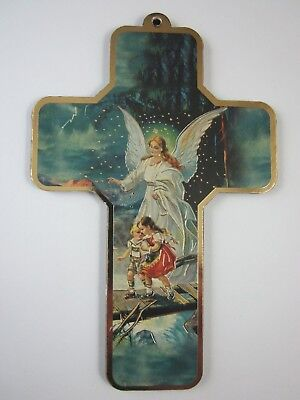 """Guardian Angel with Two Children  Picture Wall Cross on Wood  5"""" Made in Italy"""
