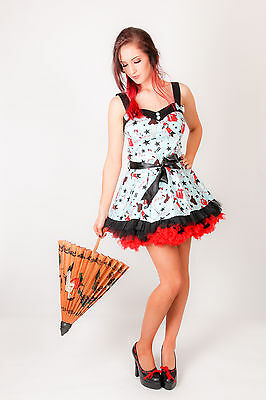 9f84b127ee3 50s Rockabilly HELL BUNNY Turquoise Pin Up Print Dixie Dress razor blade  print