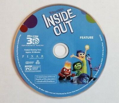 Inside Out 3D Blu-ray Disney PIXAR  (DISC ONLY !!!)