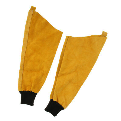 1Pair Welding Sleeves Elastic Cuff Arms Protective Splatter Split Yellow