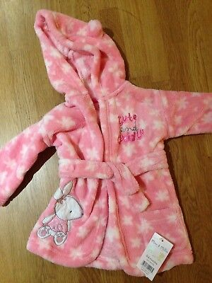 Baby Girl's NEW Soft Fleece Pink Dressing Gown 0-6 months
