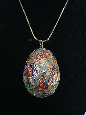 Necklace Vintage Gold Tone Scroll Enamel Cloisonne Egg Pendant