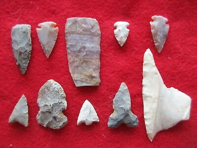 Nice Group Of 10 Arrowheads, Variety Of Types & Sizes,   #wha-0111