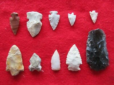 Nice Group Of 10 Arrowheads, Variety Of Types & Sizes,   #wha-0112