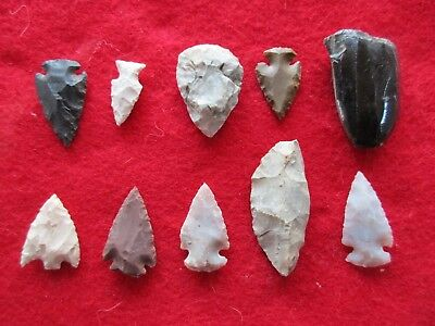 Nice Group Of 10 Arrowheads, Variety Of Types & Sizes,   #wha-0114