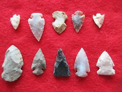Nice Group Of 10 Arrowheads, Variety Of Types & Sizes,   #wha-0115
