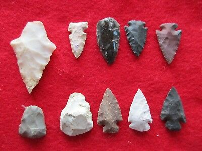 Nice Group Of 10 Arrowheads, Variety Of Types & Sizes,   #wha-0116