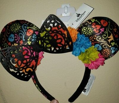 NEW Disney Parks 2018 Minnie Mouse Ears Headband Pixar Dia de los Muertos Coco