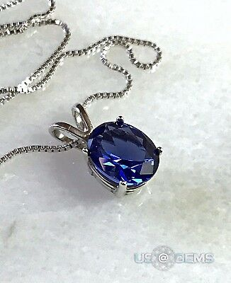 925 Sterling Silver pendant created 3 ct. Tanzanite Chain Necklace Jewelry. @