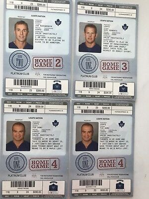 Toronto Maple Leafs Play-offs 2004 set of 4 Home Game ticket stubs -mint