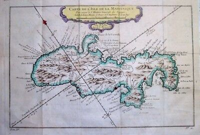 1758  Bellin Map of Martinique, West Indies