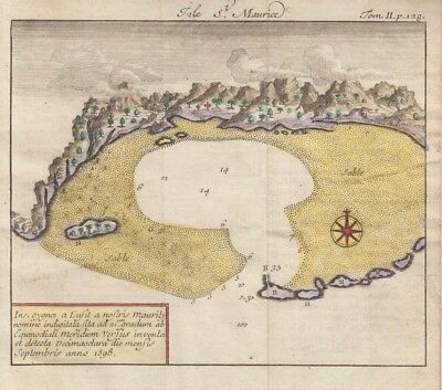 1726 Rare De Renneville Map of Mauritius, Indian Ocean