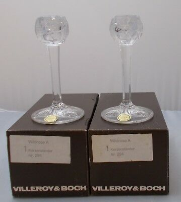 Villeroy and Boch - 2 x Wildrose 24% lead crystal candlesticks NEW BOXED