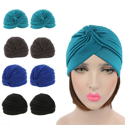 Ladies Solid Indian Stretchy Chemo Hat Pleated Turban Hat Hijab Cap Headwrap
