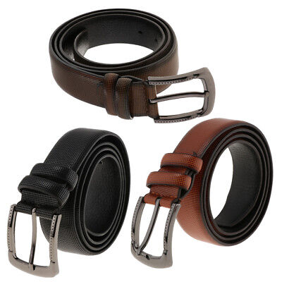 Mens PU Leather Belt Pin Buckle Trouser Jeans Waistbelt Waist Bands 3 Colors