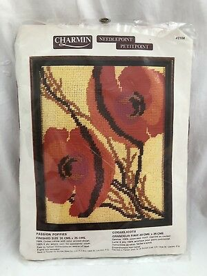 Vintage Charmin NEEDLEPOINT KIT Retro PASSION POPPIES #2108
