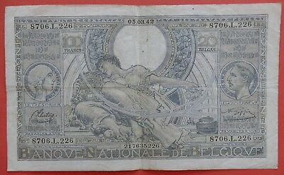 Authentic - 100 francs - 05.03.1942 - WWII  World War II Nazi Occupation