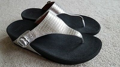 afc5ad80b6c7b7 Fitflop The Skinny Women s Flip Flop Thong Wedge Sandals Silver Side Buckle  9
