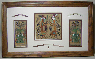 Navajo Sand Painting with Male and Female Yei by D. Johnson