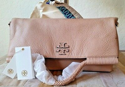 98e28723776 Tory Burch Taylor Convertible Fold-Over Cross-Body Devon Sand Leather +  Duster