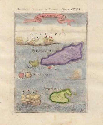 1685 Lovely Mallet Map of Ikaria, Palmosa Greece