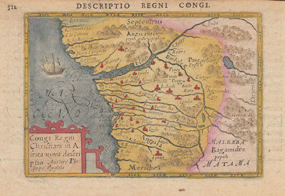 1603 Decorative Bertius Map of Congo, Africa